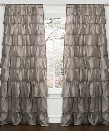Gray Ruffle Window Curtain Panel