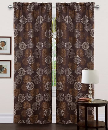 Brown Bijou Curtain Panel - Set of Two
