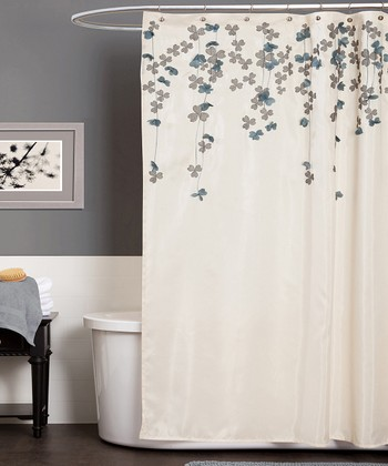 Ivory & Blue Flower Drops Shower Curtain