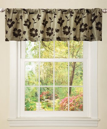 Green & Brown Garden Blossom Valance