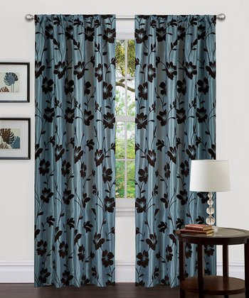 Blue & Brown Garden Blossom Curtain Panel - Set of Two