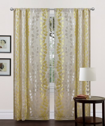 Beige & Green Teardrops Curtain Panel - Set of Two