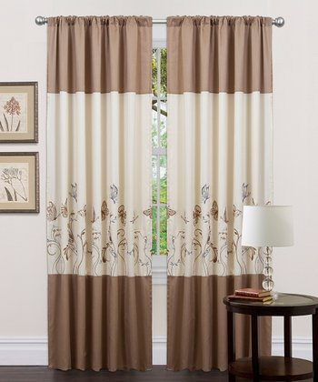 Beige & Taupe Butterfly Dreams Curtain Panel