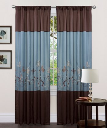 Blue & Brown Butterfly Dreams Curtain Panel - Set of Two