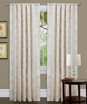Beige Circle Charm Curtain Panel
