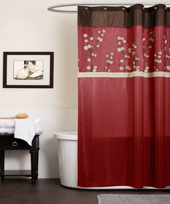 Red Cocoa Flower Shower Curtain