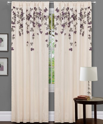 Ivory & Purple Flower Drop Curtain Panel