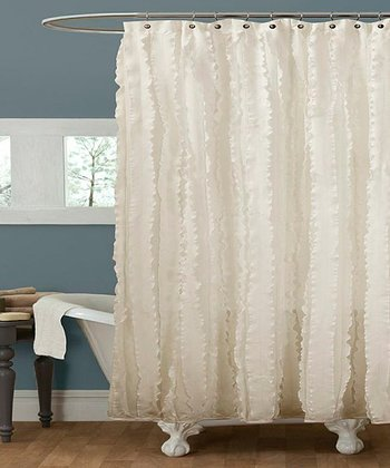 Ivory Cascading Ruffle Shower Curtain