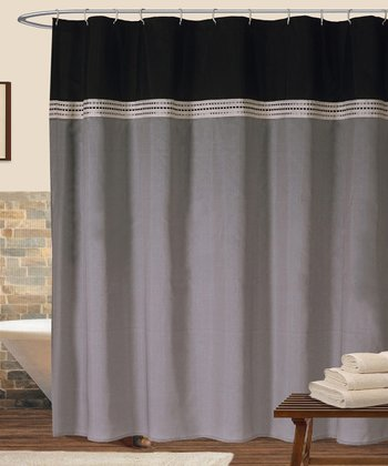 Black & Silver Terra Shower Curtain