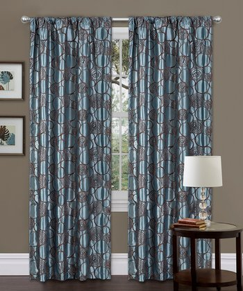 Blue & Brown Circle Charm Curtain Panel