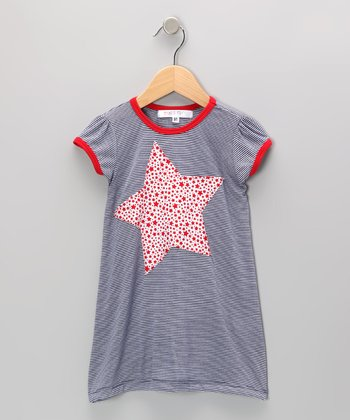 Navy & Red Star Dress - Infant, Toddler & Girls