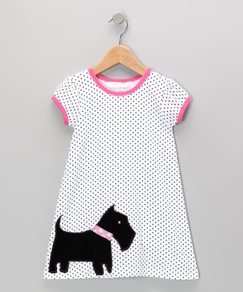 White & Pink Scottie Dog Dress - Infant, Toddler & Girls