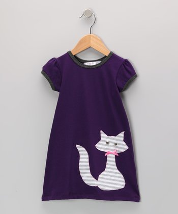 Purple & Gray Kitty Dress - Infant, Toddler & Girls