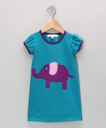 Teal & Purple Elephant Dress - Infant, Toddler & Girls