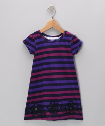 Purple & Magenta Stripe Flower Dress	- Infant, Toddler & Girls
