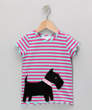 Fuchsia & Aqua Stripe Scottie Dog Tee - Girls