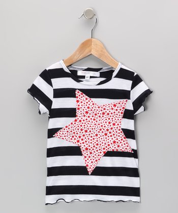 Navy & Pink Stripe Star Tee - Infant