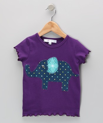 Purple & Navy Elephant Tee - Infant