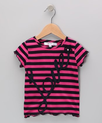 Pink & Navy Stripe 'Love' Tee - Infant, Toddler & Girls