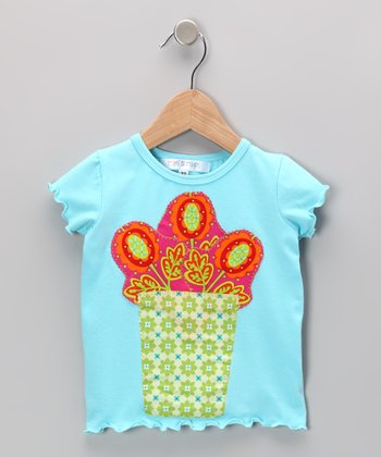 Aqua Flower Vase Tee - Infant, Toddler & Girls