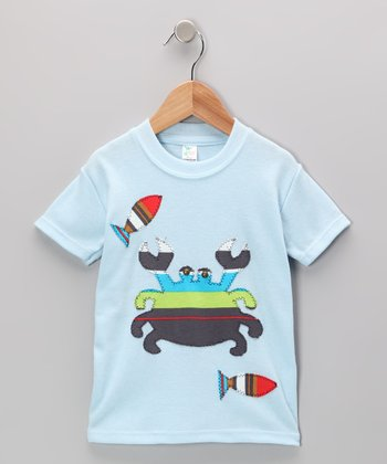 mini scraps Baby Blue Crab & Fish Tee - Toddler & Boys
