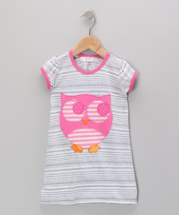 Gray & Pink Stripe Owl Dress - Girls