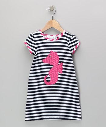 Navy & Fuchsia Stripe Sea Horse Dress - Infant, Toddler & Girls