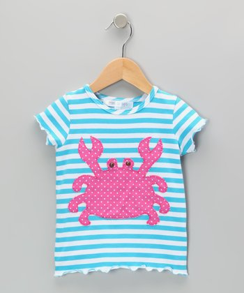 Aqua & White Stripe Crab Tee - Infant, Toddler & Girls