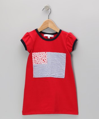 Red & Navy USA Flag Dress - Infant, Toddler & Girls