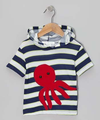 Navy & Red Stripe Octopus Tee - Infant & Kids