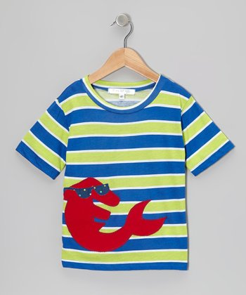 Royal & Lime Stripe Dolphin Tee - Infant, Toddler & Boys