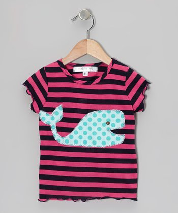 Navy & Fuchsia Stripe Whale Tee - Infant