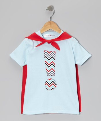 Blue & Red Exclamation Caped Tee - Infant, Toddler & Kids