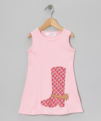 Baby Pink Cowgirl Boot Swing Dress - Infant, Toddler & Girls