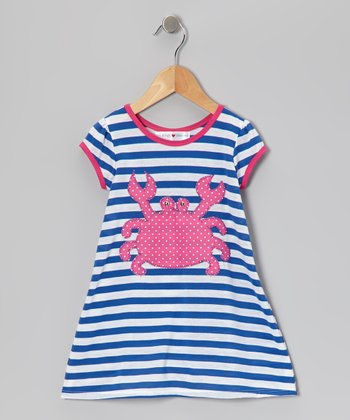 Blue & Pink Stripe Crab Dress - Infant, Toddler & Girls