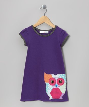 Purple Owl Cap-Sleeve Dress - Infant, Toddler & Girls