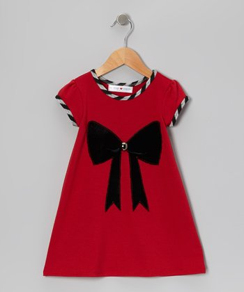 Pink & Black Bow Dress - Infant, Toddler & Girls