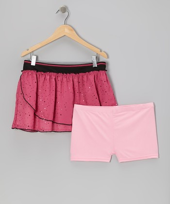 Pink Sparkle Reversible Tennis Skirt & Shorts - Girls