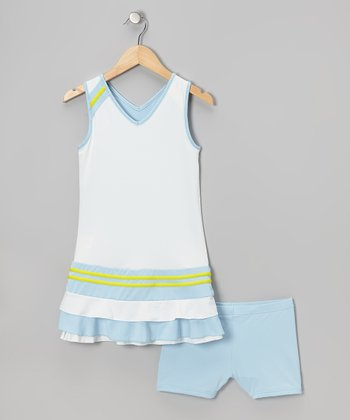 Blue & White Reversible Tennis Dress & Shorts - Girls