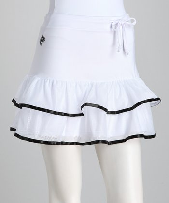 White & Black Trim Ruffle Tennis Skort - Women