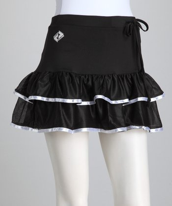Black & White Trim Ruffle Tennis Skort - Women
