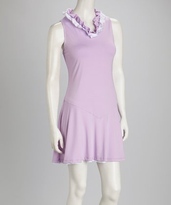 White & Lilac Reversible Tennis Dress & Shorts - Women