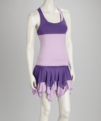 Purple & White Reversible Tennis Tank - Women