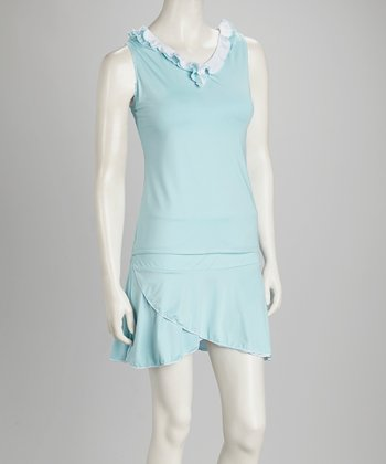 Light Blue & White Reversible Tennis Tank - Women