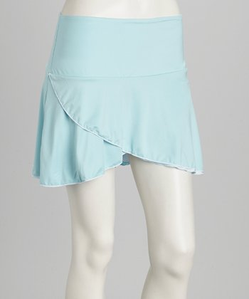 Light Blue & White Reversible Tennis Skirt & Shorts - Women