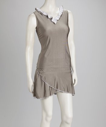 Gray & White Reversible Tennis Tank - Women