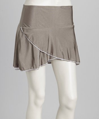 Gray & White Reversible Tennis Skirt & Shorts - Women