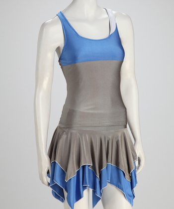 Blue & Gray Reversible Tennis Tank - Women