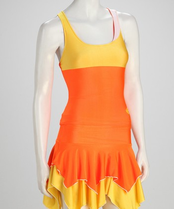 Orange & Yellow Reversible Tennis Tank - Women