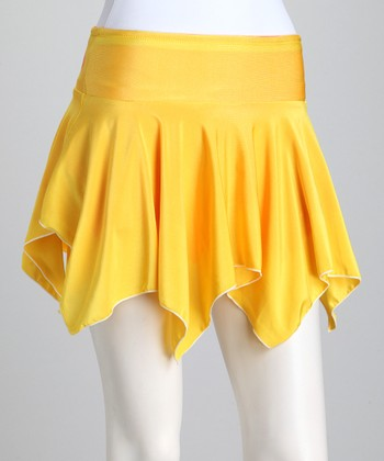 Orange & Yellow Reversible Tennis Skirt & Shorts - Girls